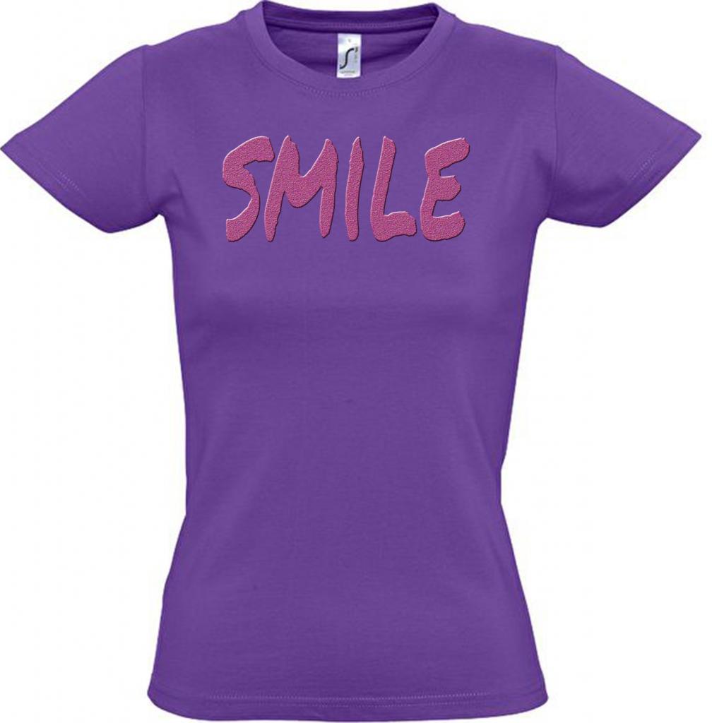 T-shirt coton femme violet Smile